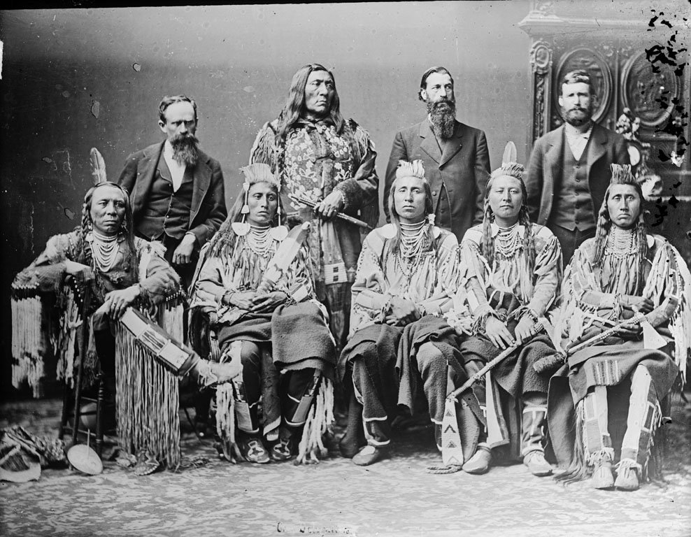 American Indians : Group of Crow Men 1880.
