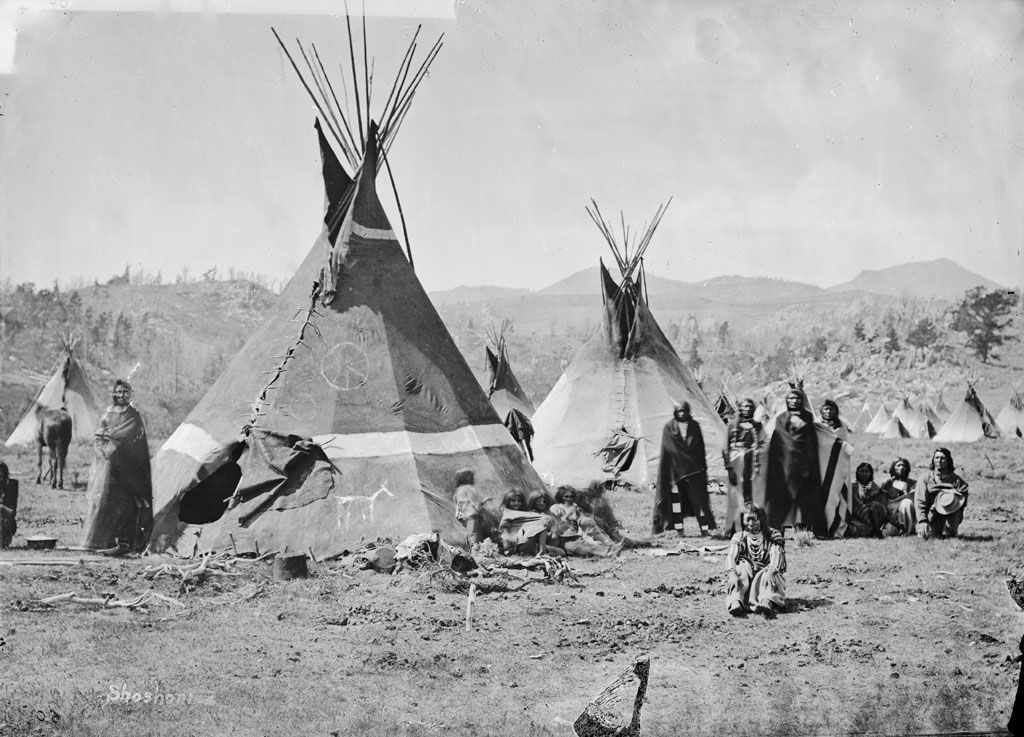 American Indians : Shoshoni Camp 1868.