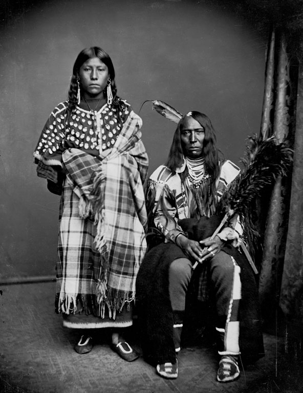 American Indians : Bear Wolf and wife Stays With Horses - Crow 1873.