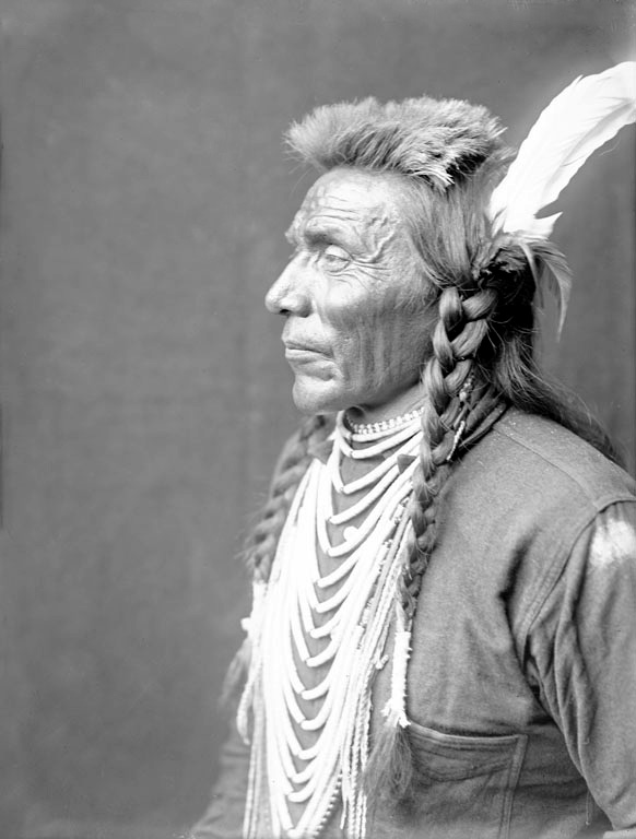 American Indians : Blackfoot Man 1900 [side profile].