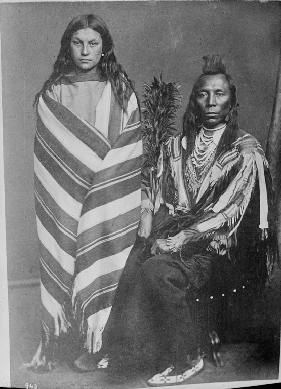 American Indians : Old Crow and wife Pretty Medicine Pipe - Crow 1873.