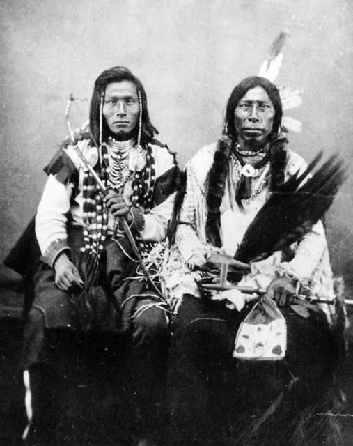 American Indians : Running Face and unidentified Mandan Man 1872.