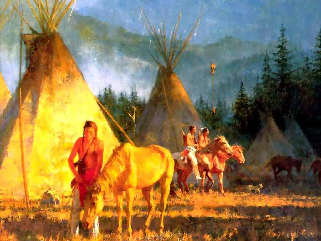 Howard Terpning - Crow Camp [in detail - right].