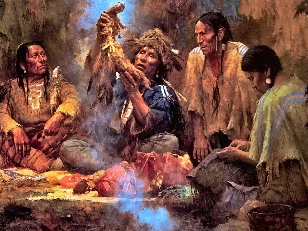 Howard Terpning - Opening Sacred Bundle [detail].