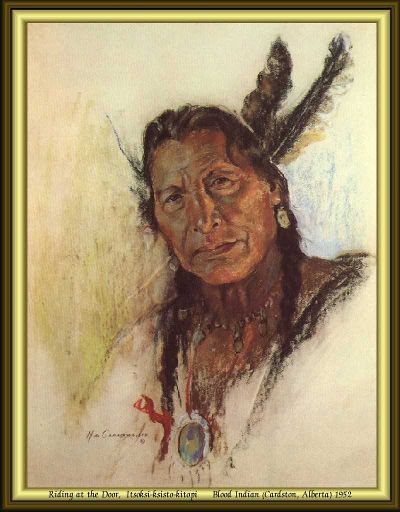 Nicholas de Grandmaison - Riding At The Door, Itsoksi-ksisto-kitopi - Blood Indian (Cardston, Alberta) 1952.