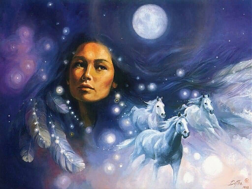 Native American Woman In Full Moon Night Sky