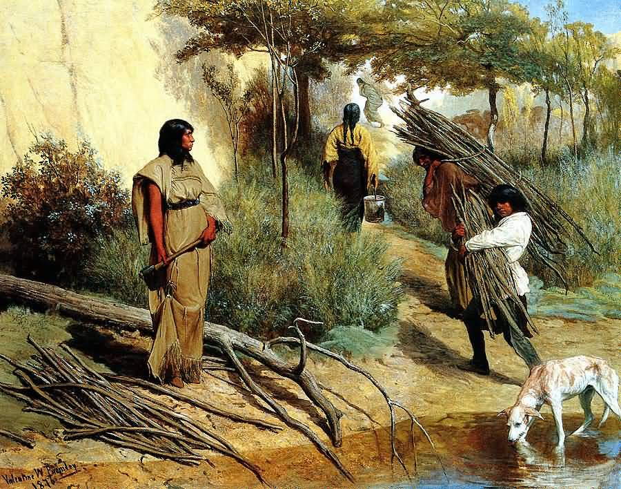 Valentine Walter Bromley : Crow Indian Women Gathering Wood.