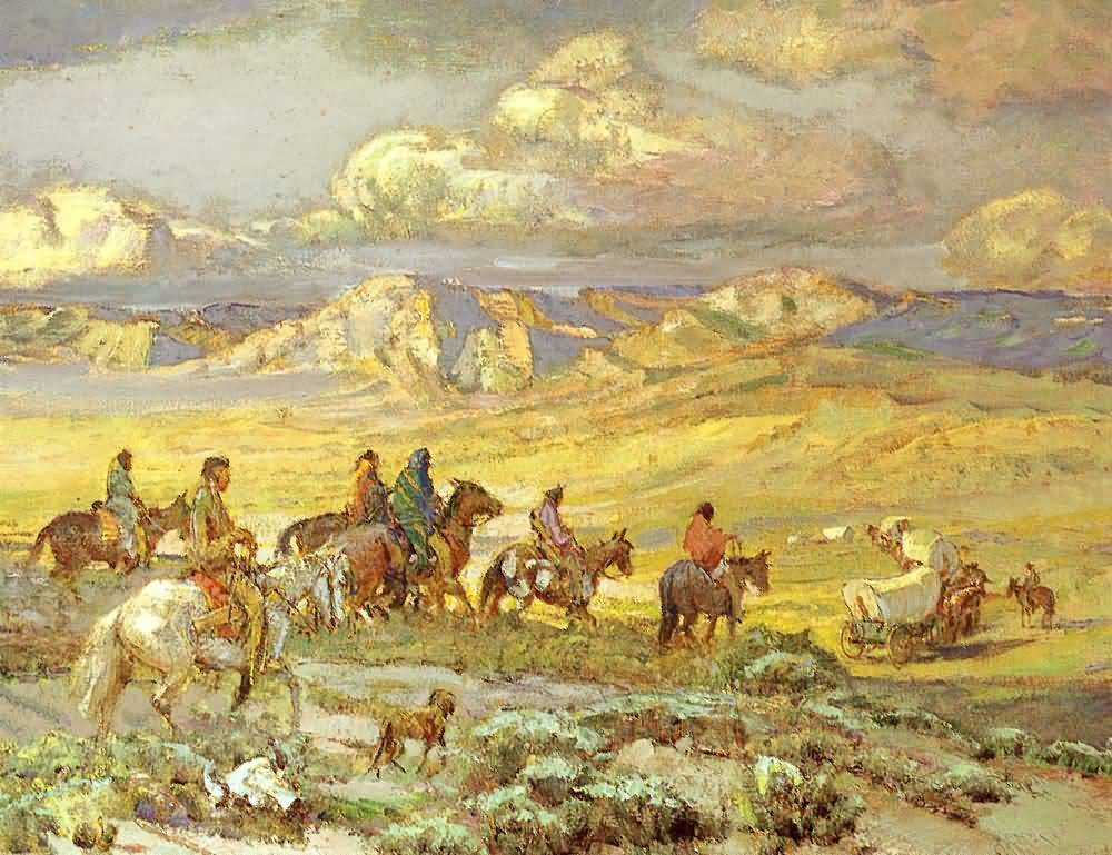 Oscar E Berninghaus : Friendly Indians Watching A Wagon Train.