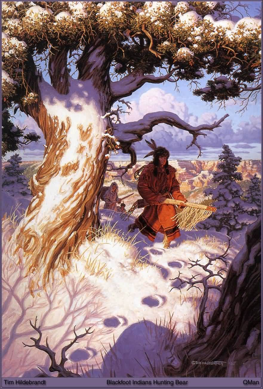 Tim Hildebrandt : Blackfoot Indians Hunting Bear.