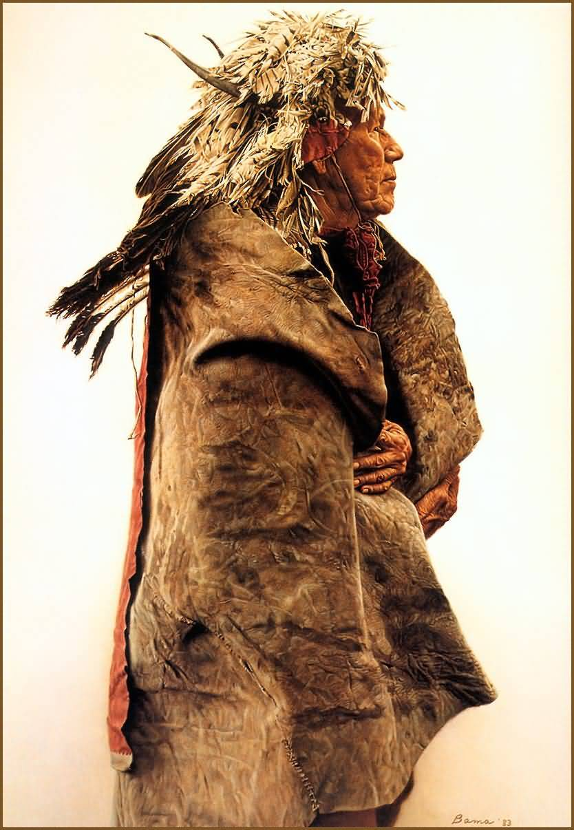 James Bama : Crow Indian Wearing 1860 War Bonnet