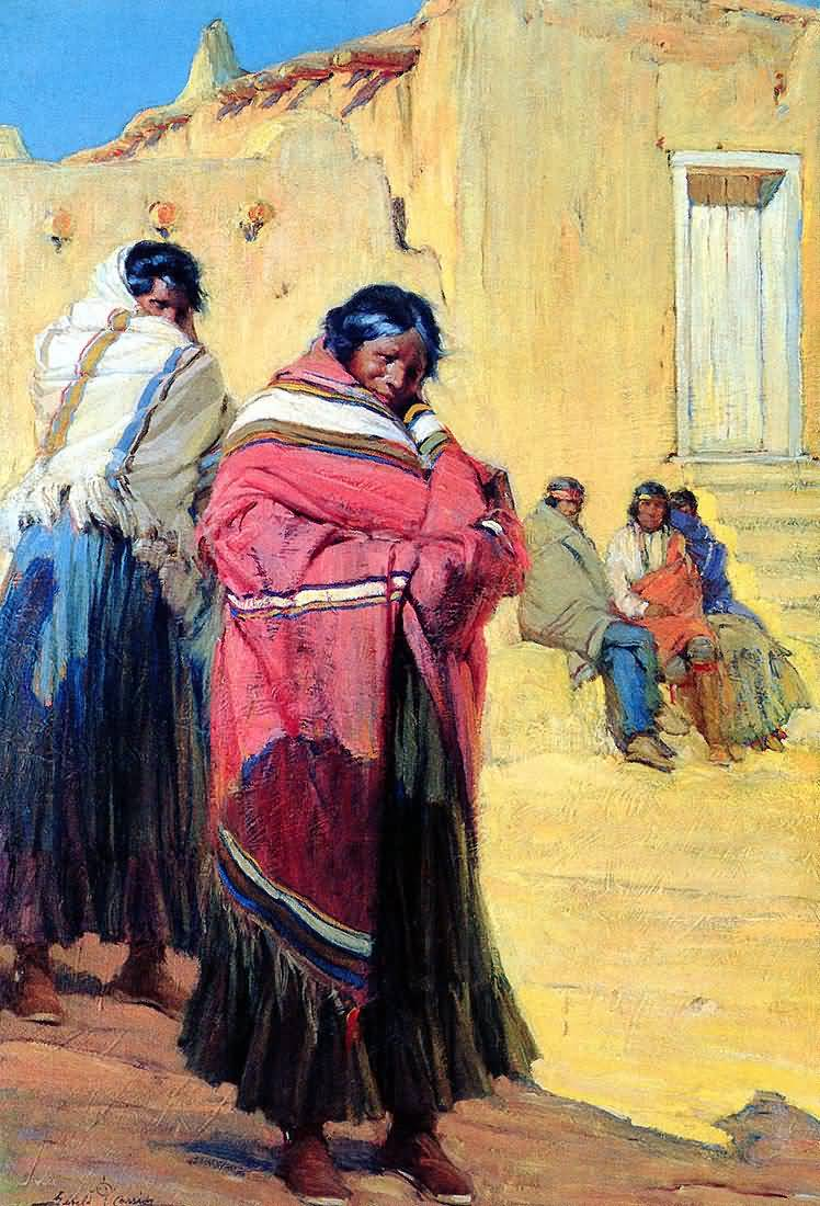 Gerald Cassidy : Indians Outside Taos Pueblo.