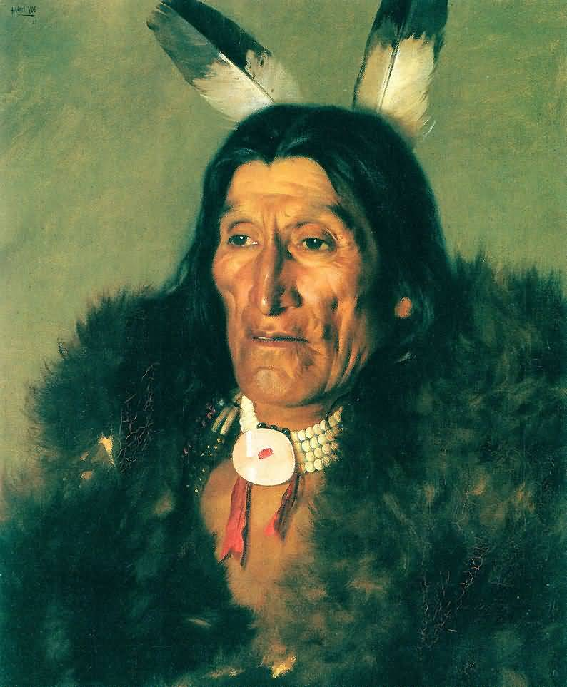 Hubert Vos : Sioux Chief In Buffalo Robes.