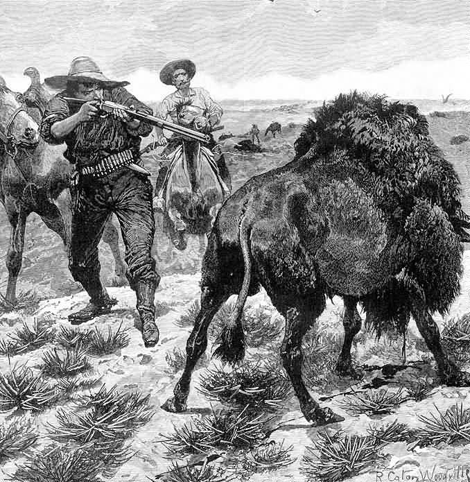 Richard Caton Woodville : Shooting Buffalo With A Rifle.