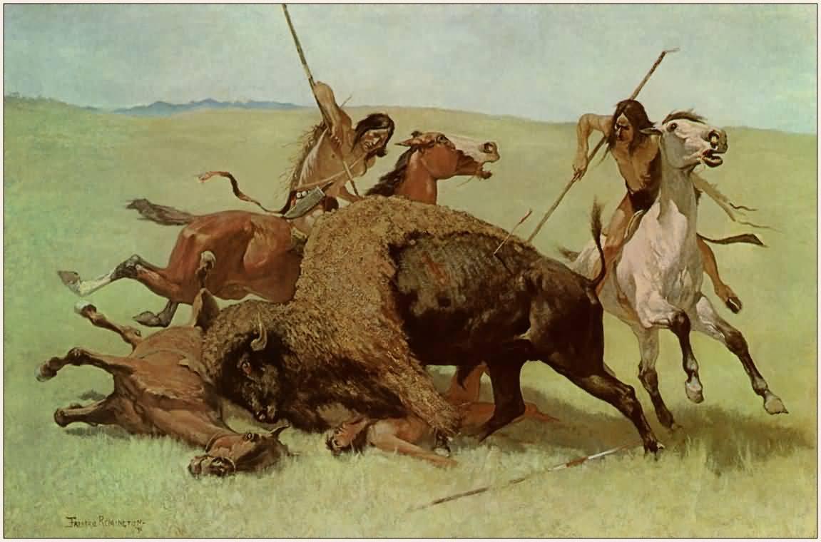 Frederic Remington : The Buffalo Hunt 1890.
