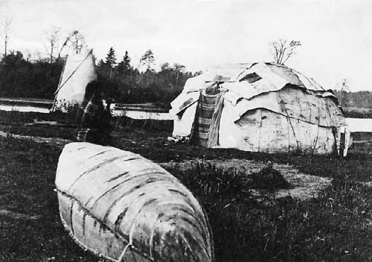 Chippewa Birch Bark Wigwams.