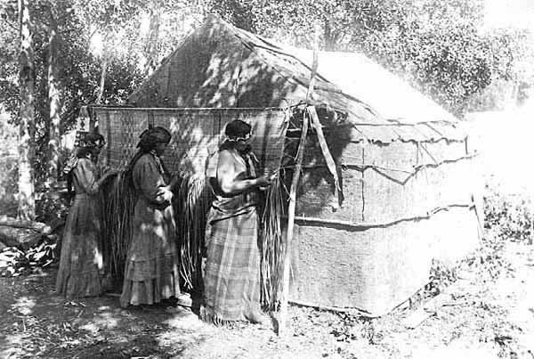 Chippewa Women Weaving a Mat in the Shade of a Bark House.