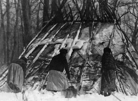 Women Building a Maple Sugar Lodge.