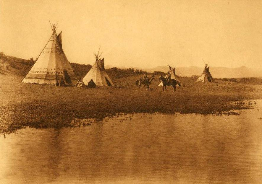 tipi (teepee or tepee) photograph : An Assiniboin Camp near the Rocky Mountains.