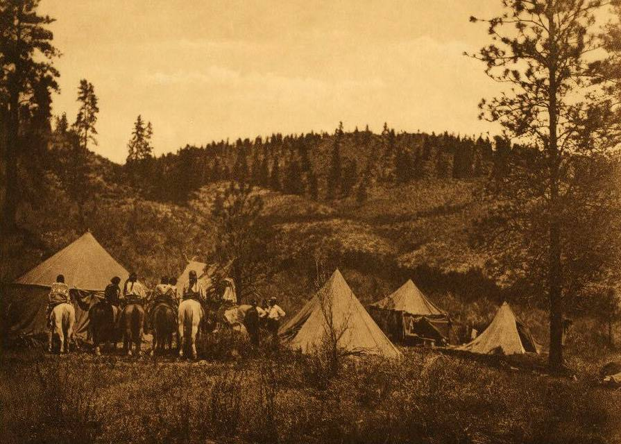 tipi (teepee or tepee) photograph : Authors Camp among the Spokan.