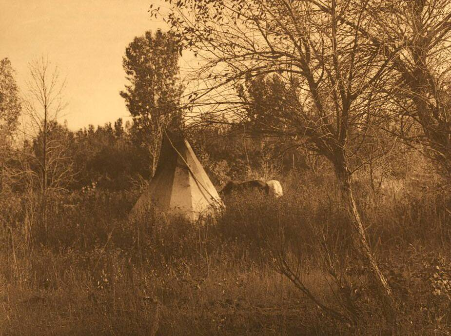 tipi (teepee or tepee) photograph : Apsaroke in Autumn.