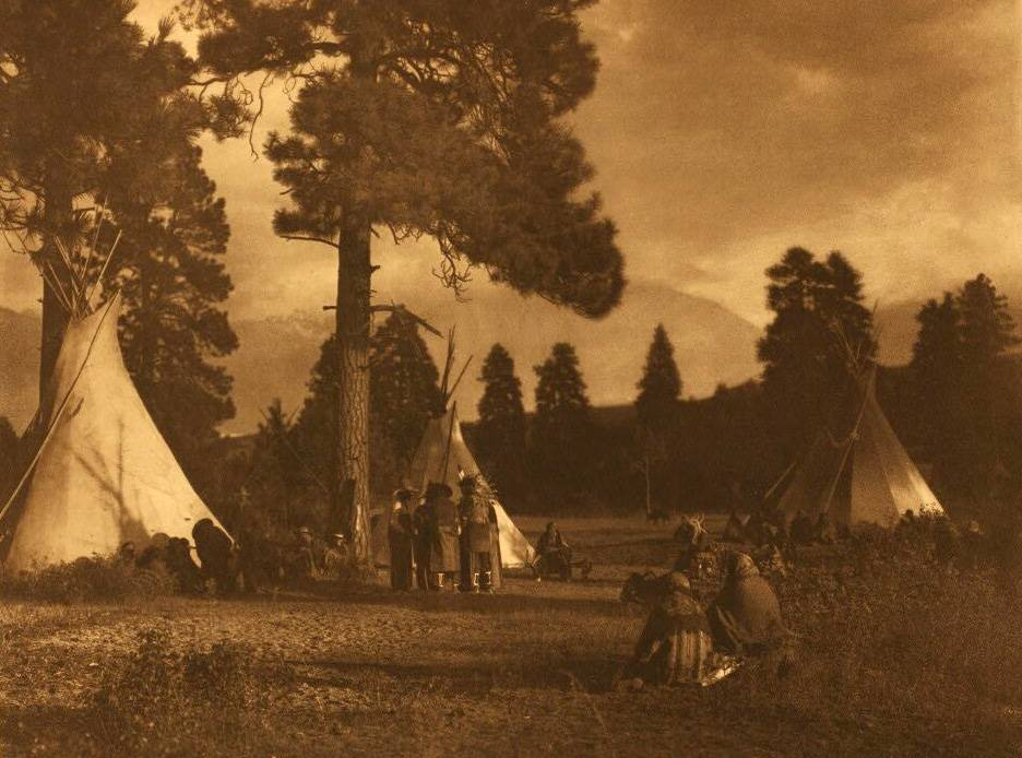 tipi (teepee or tepee) photograph : Flathead Camp on Jocko River.