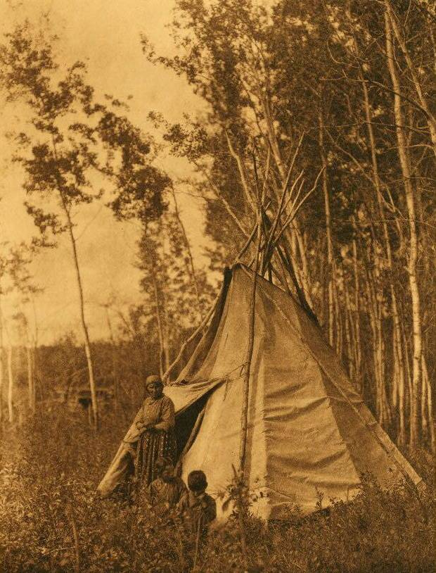 tipi (teepee or tepee) photograph : Chipewyan Camp among the Aspens.