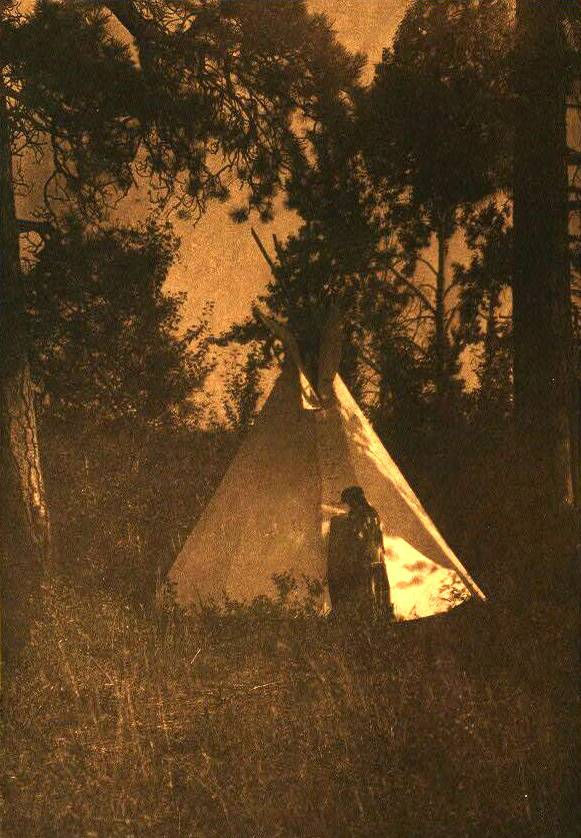 tipi (teepee or tepee) photograph : Kutenai Camp in the Forest.